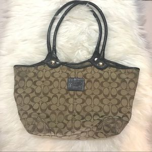 Spell Out COACH Hand Bag Purse Brown Authentic